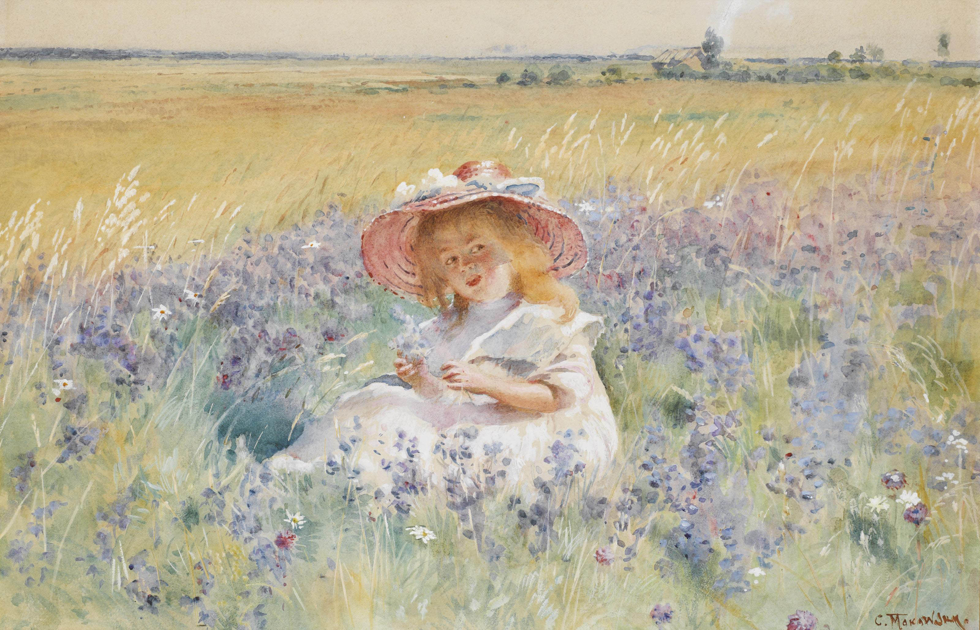 A young girl in a field of salvia, oxeye daisies and meadow foxtail