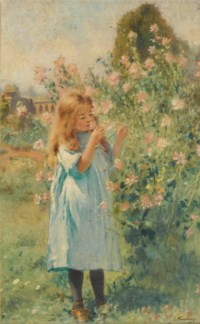 A little girl smelling mallow and yarrow