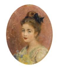 Portrait of a lady with a bouquet