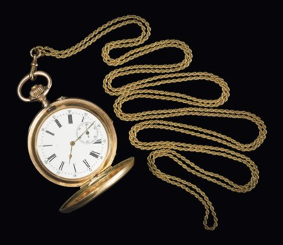 A GOLD CASED POCKET WATCH