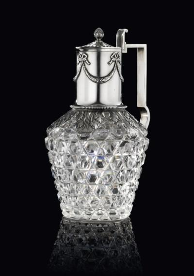 A SILVER-MOUNTED CUT-GLASS DEC