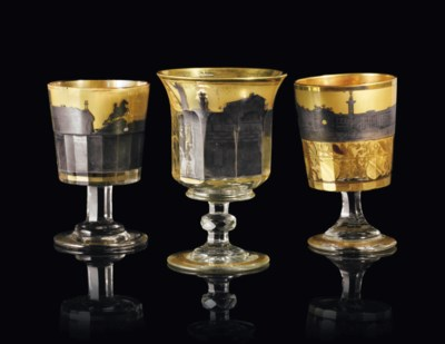 THREE GILT AND SILVERED GLASS