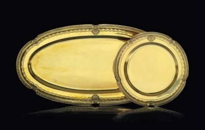 A SILVER-GILT PLATE AND MEAT D