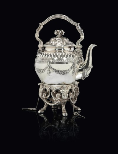 A SILVER KETTLE-ON-STAND