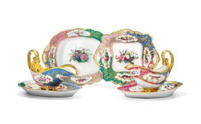 TWO PORCELAIN SAUCE BOATS WITH