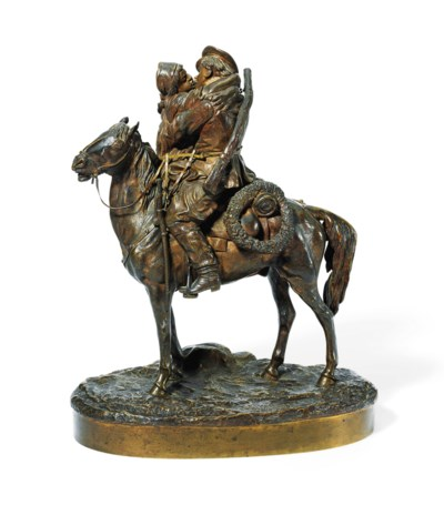 A BRONZE GROUP OF A SOLDIER ON