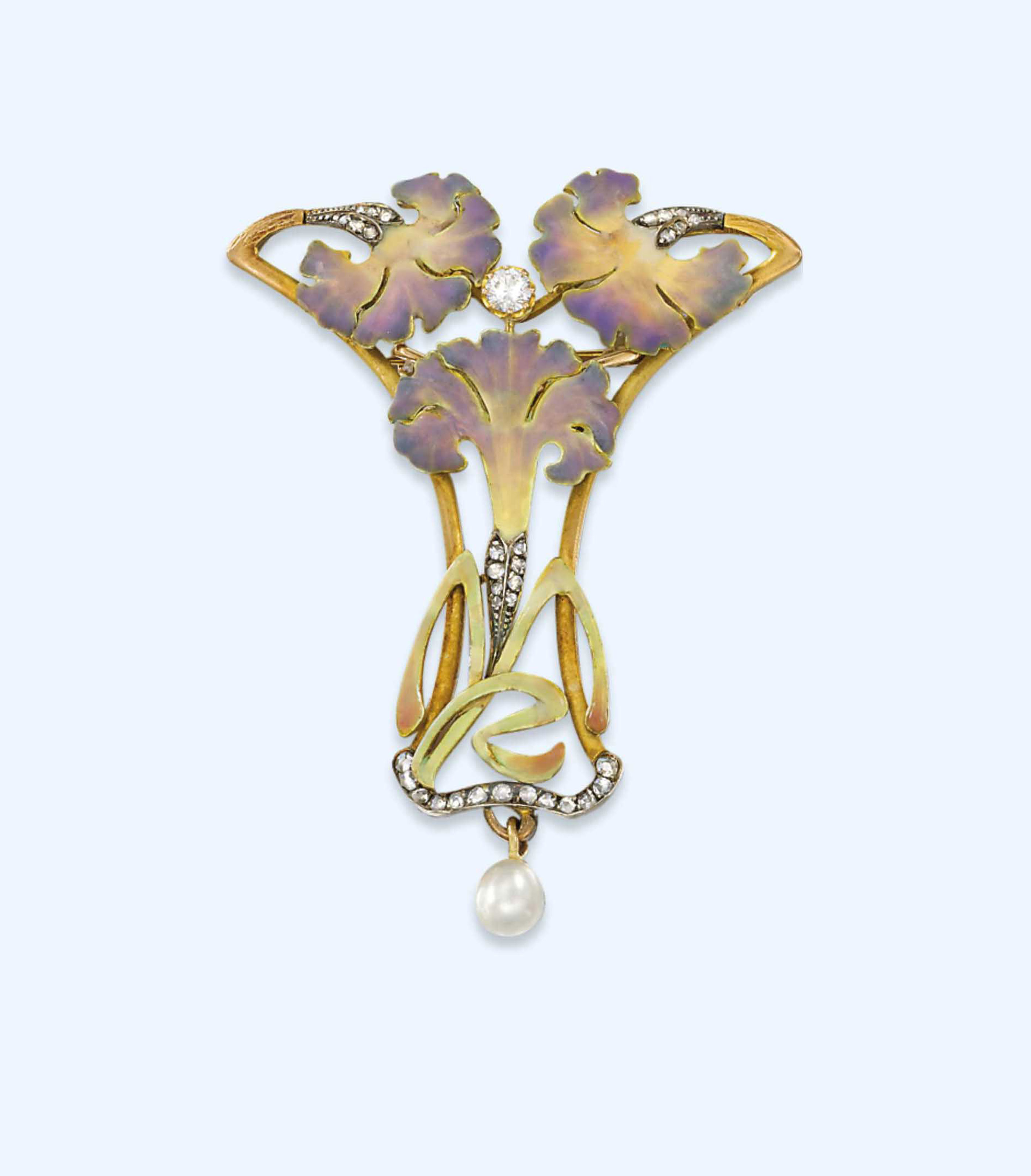 AN ART NOUVEAU DIAMOND-SET ENAMEL AND PEARL PENDANT, BY LUIS MASRIERA