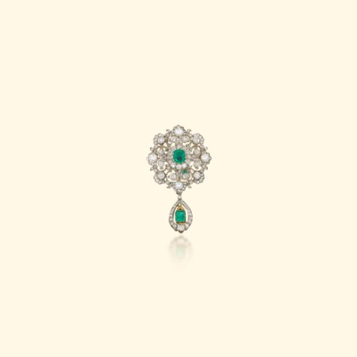 A VICTORIAN EMERALD, PEARL AND