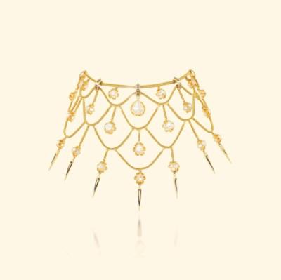 AN ANTIQUE GOLD, DIAMOND AND E