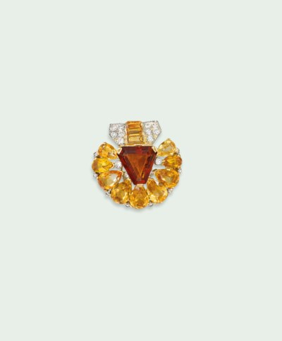 AN ART DECO CITRINE AND DIAMON
