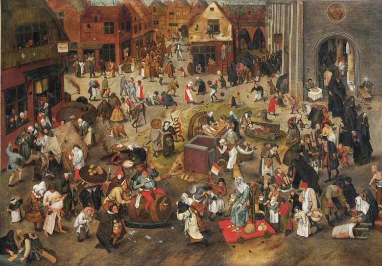 Pieter Brueghel the Younger (15645-16378), The Battle between Carnival and Lent. Oil on canvas. 47 x 67⅜  in (119.4 x 171.2  cm). Sold for £6,873,250 on 6 December 2011 at Christie's in London