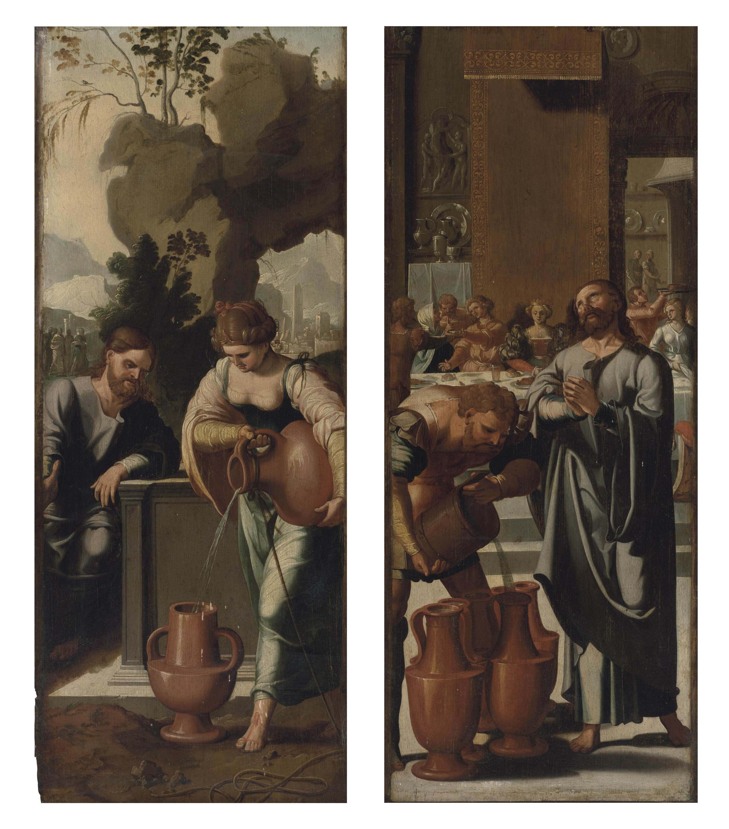 Christ and the Woman of Samaria at the Well; and The Marriage at Cana - panels from a polyptych