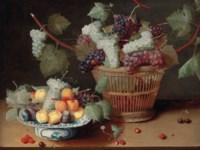 Grapes, peaches and plums on a Delft platter and grapes in a woven basket, with strawberries, cherries and a fly on a stone ledge