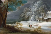 A winter landscape with figures and a dog on a track, cottages beyond