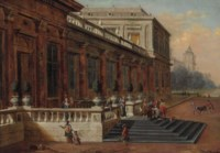A capriccio of a palace terrace, with The Return of the Prodigal Son