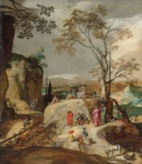 The Sermon on the Mount, a rocky landscape beyond