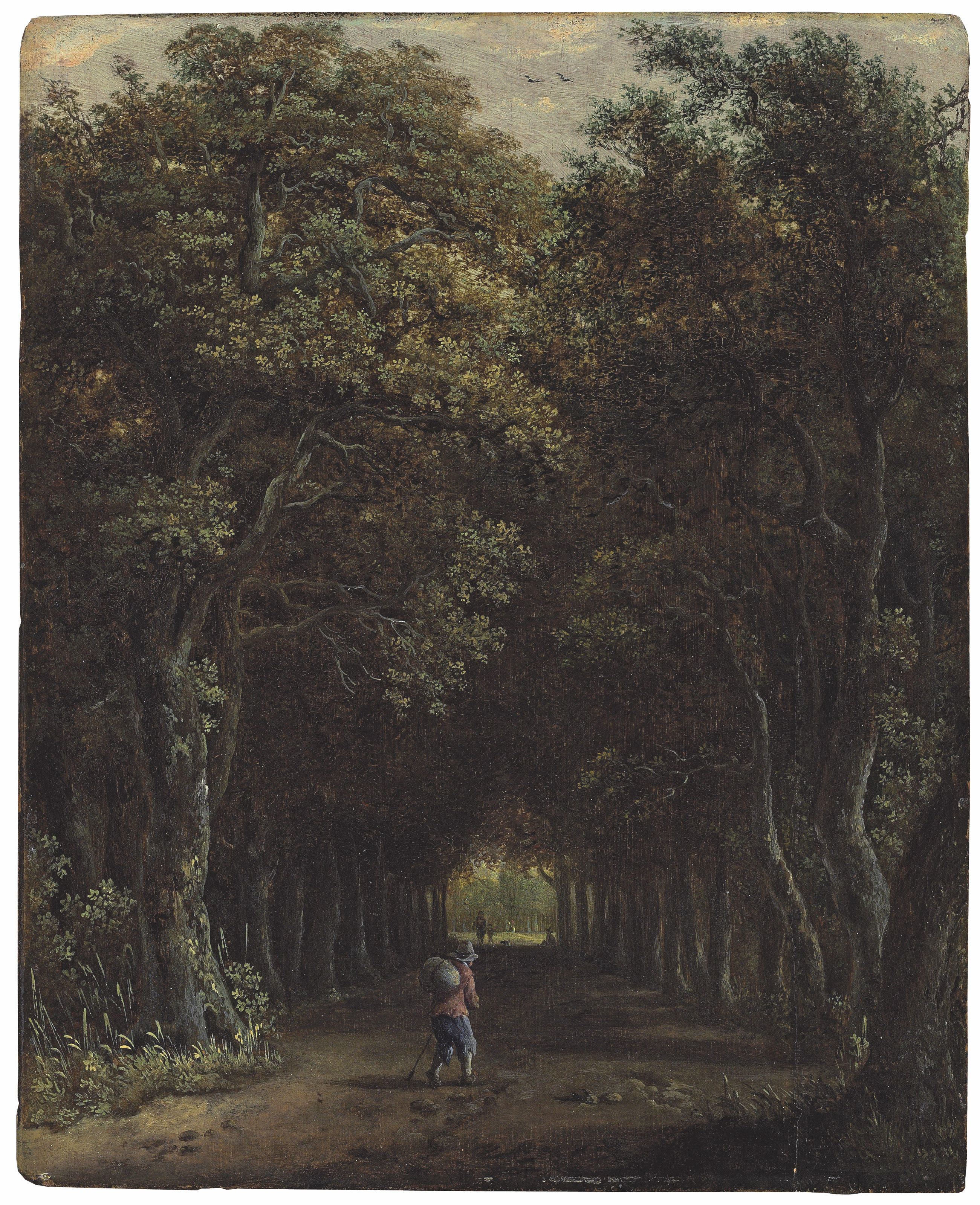 An avenue of trees with a traveller on the path, other figures and a dog beyond