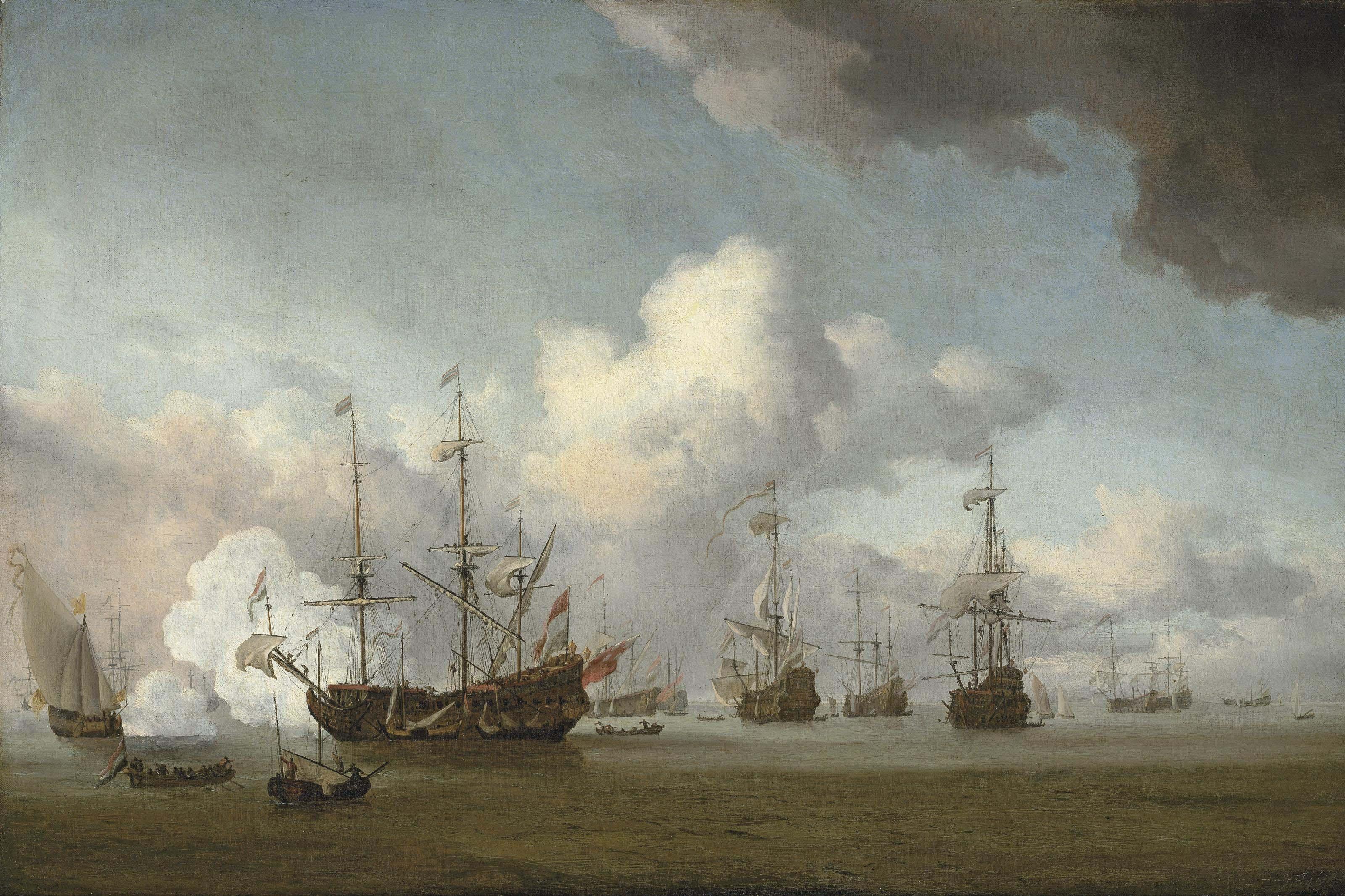 A fleet of Dutch men-o'-war at anchor, one firing a salute