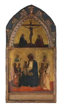 The Madonna and Child surrounded by Saints John the Baptist, Catherine of Alexandria, Francis of Assisi and Bartholomew and other saints, with the Crucifixion above