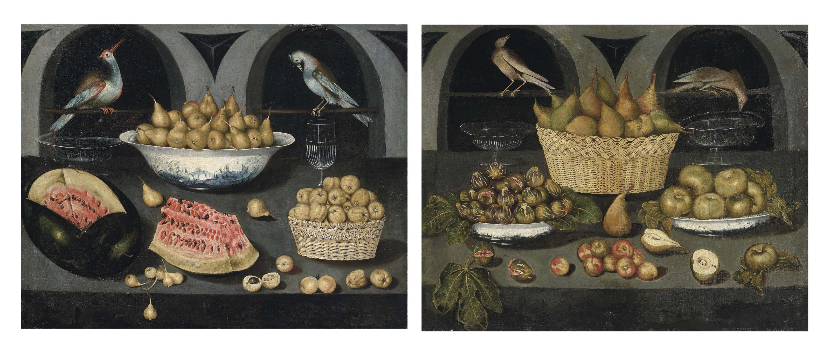 An open watermelon, pears in a Chinese porcelain bowl, apples in a wicker basket, apricots and glassware, on a stone ledge, arches beyond with two exotic birds; and Pears in a wicker basket, figs and apples in Chinese porcelain bowls, with further pears, figs, apples and glassware, on a stone ledge, arches beyond with two birds