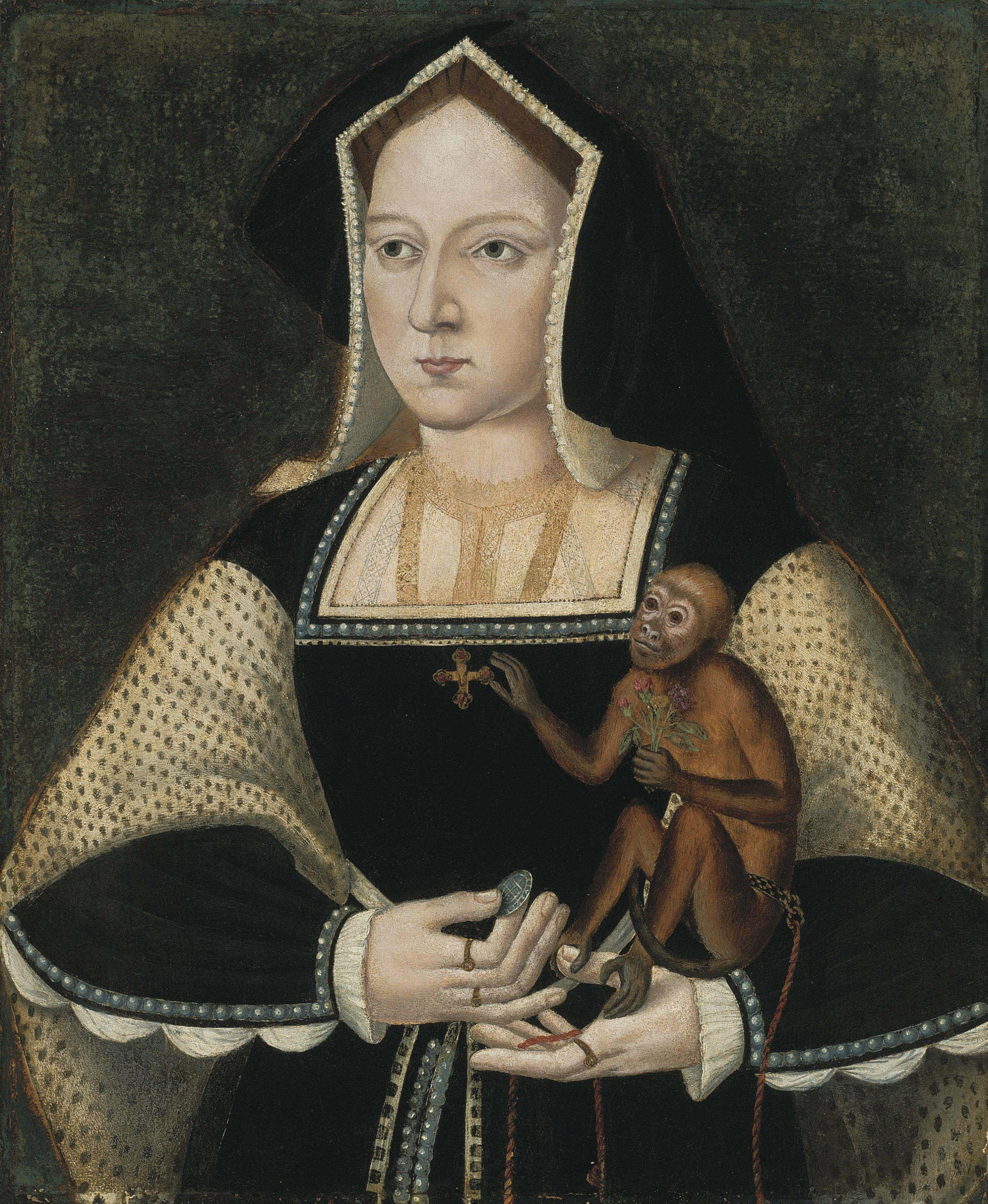 Portrait of Katherine of Aragon (1485-1536), Queen of England, half-length, in a black and white dress with a pendant cross, holding a marmoset and a coin