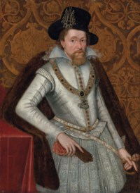 Portrait of King James I of England and VI of Scotland (1566-1625), three-quarter-length, in a white doublet with a lace collar, jewelled hose and a fur cloak, wearing the Greater George, a black hat with a jewel, holding a pair of gloves in his right hand, his left hand resting on the hilt of his sword