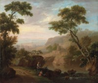 An Italianate river landscape with ruins, anglers on a bank