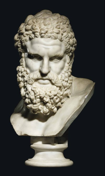 A CARVED MARBLE BUST OF THE FA