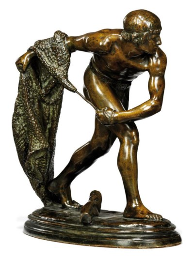 A FRENCH PATINATED BRONZE OF A