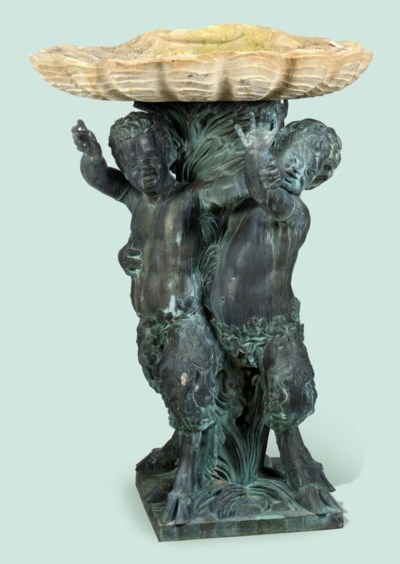 A FRENCH BRONZE FOUNTAIN GROUP