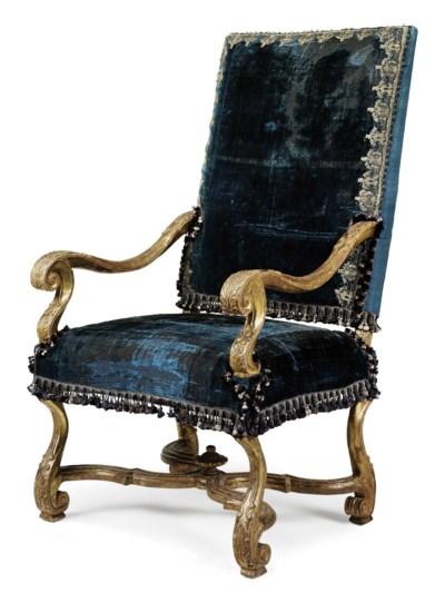 A LOUIS XIV GILTWOOD FAUTEUIL