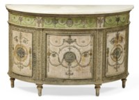 A GEORGE III PEWTER-MOUNTED PARCEL-SILVERED, GREEN AND PALE PINK-PAINTED DEMI-LUNE JARDINIERE CABINET