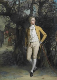Portrait of Arthur Hill, 2nd Marquess of Downshire (1753-1801), small full-length, in a yellow frock coat and breeches, his left arm resting on a cane, with a coach and four beyond, in a landscape