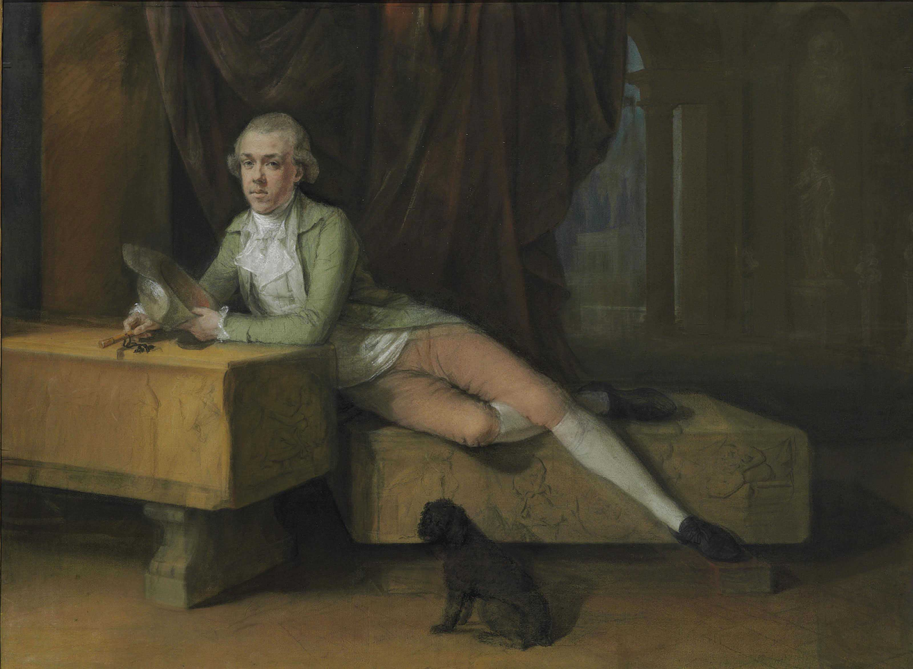 Portrait of James Colyear Dawkins (1760-1840) of Standlynch Park, Wiltshire, leaning on a sarcophagus during his Grand Tour in the 1780s, possibly at the Villa Albani, Rome