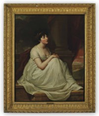 Portrait of Jane Winder, wife of William Charles Monck-Mason of Masonbrook, Co. Kildare, full-length, seated on a ledge in a white dress with a gold headdress beside a column, a landscape beyond