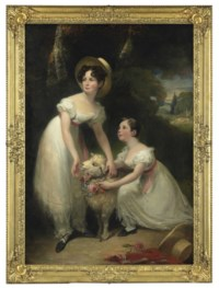 Double portrait of Misses Emily and Marie Ashworth, full-length, playing with a lamb in a landscape, a waterfall beyond