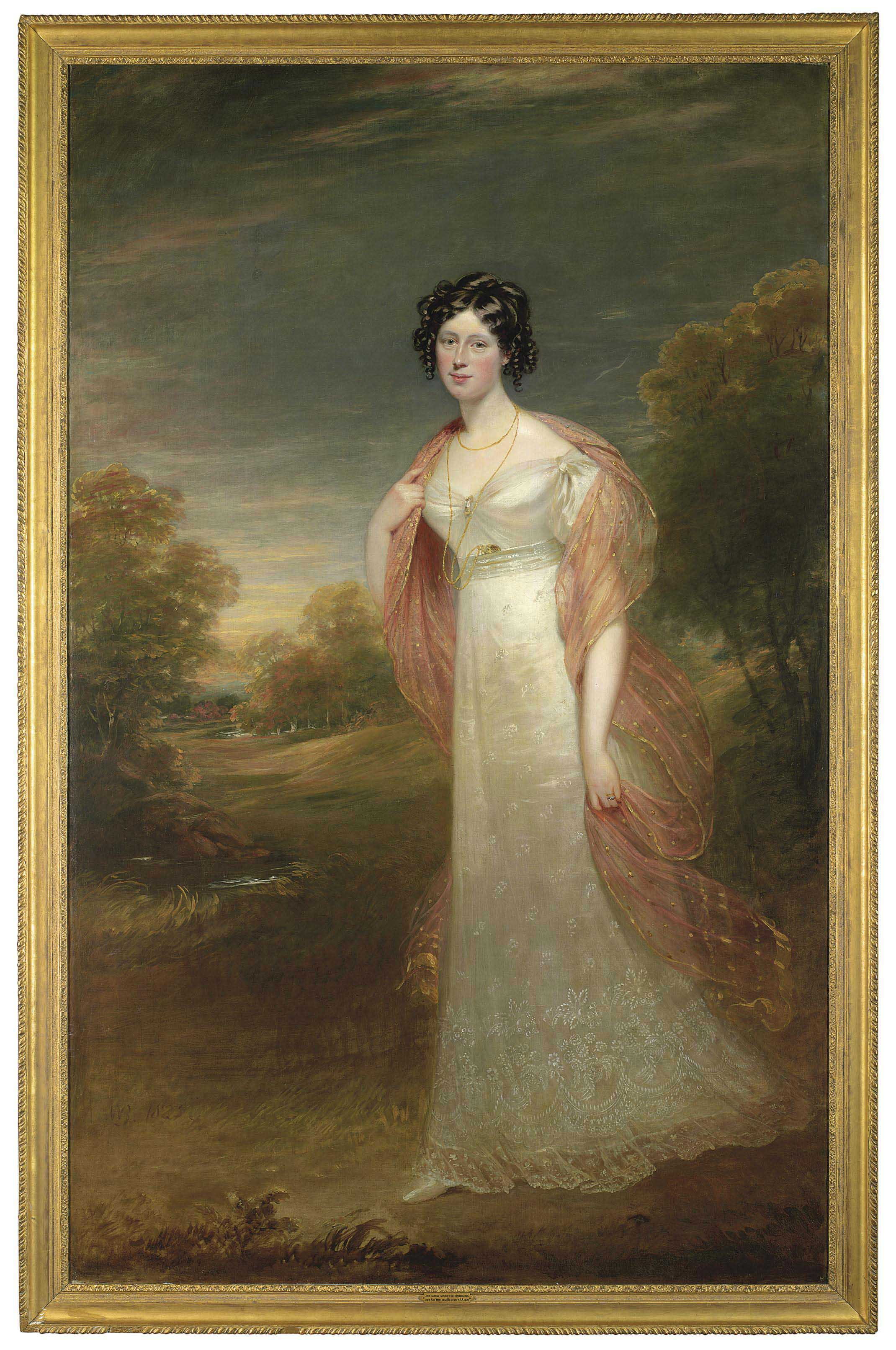 Portrait of Ann Maria Harriet de Rhodes (1793-1849), full-length, in a white dress and pink chiffon wrap, a wooded landscape beyond