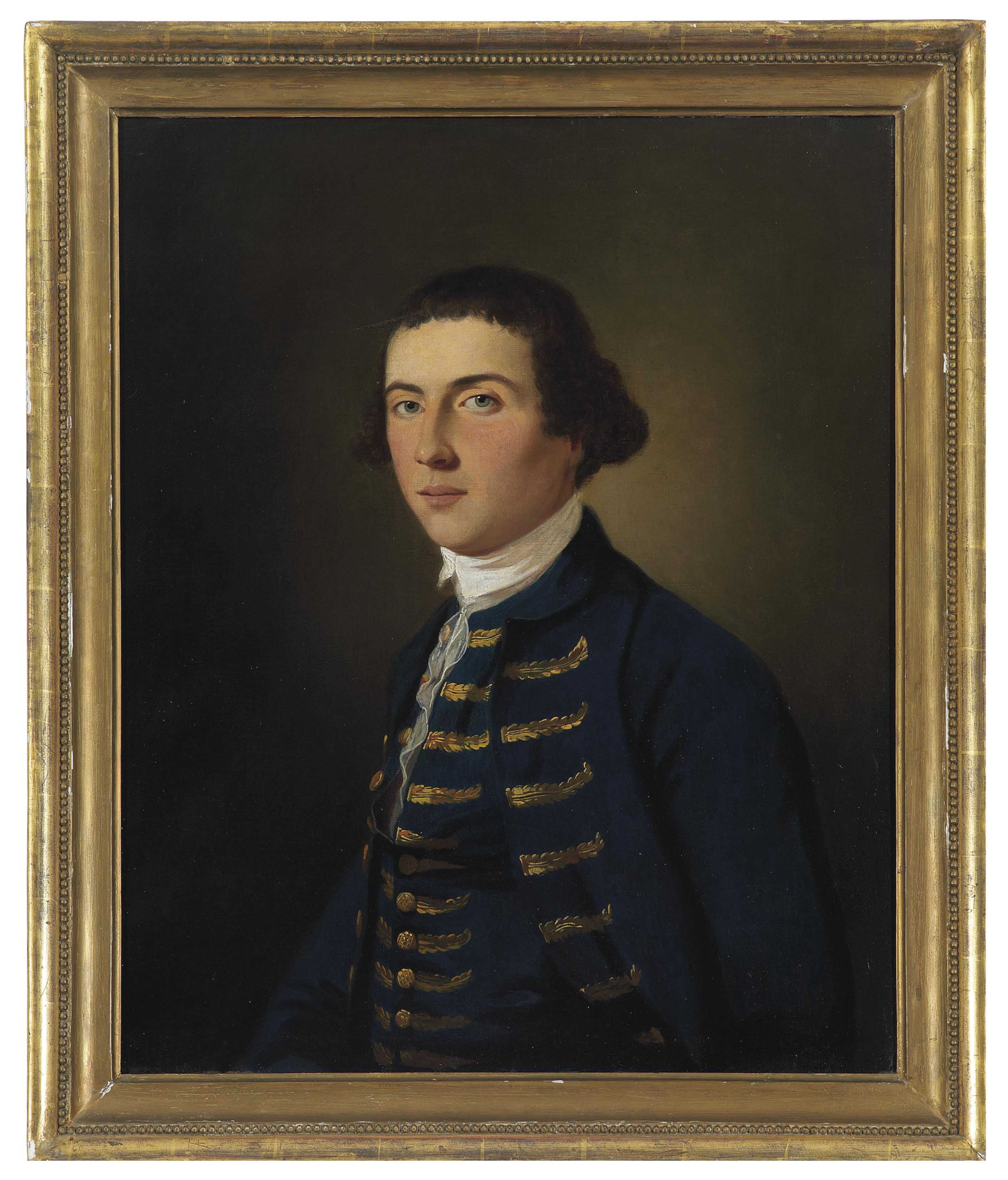 Portrait of a young man, half-length, in blue coat and waistcoat with gold embroidery