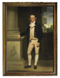Portrait of William Senhouse, full-length, in a buff waist-coat and breeches with a black coat and white stock, standing beside a column in an interior, a view of a landscape with a church spire beyond