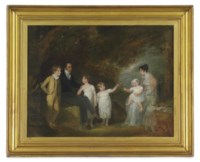 Group portrait possibly of the artist and her family in a landscape