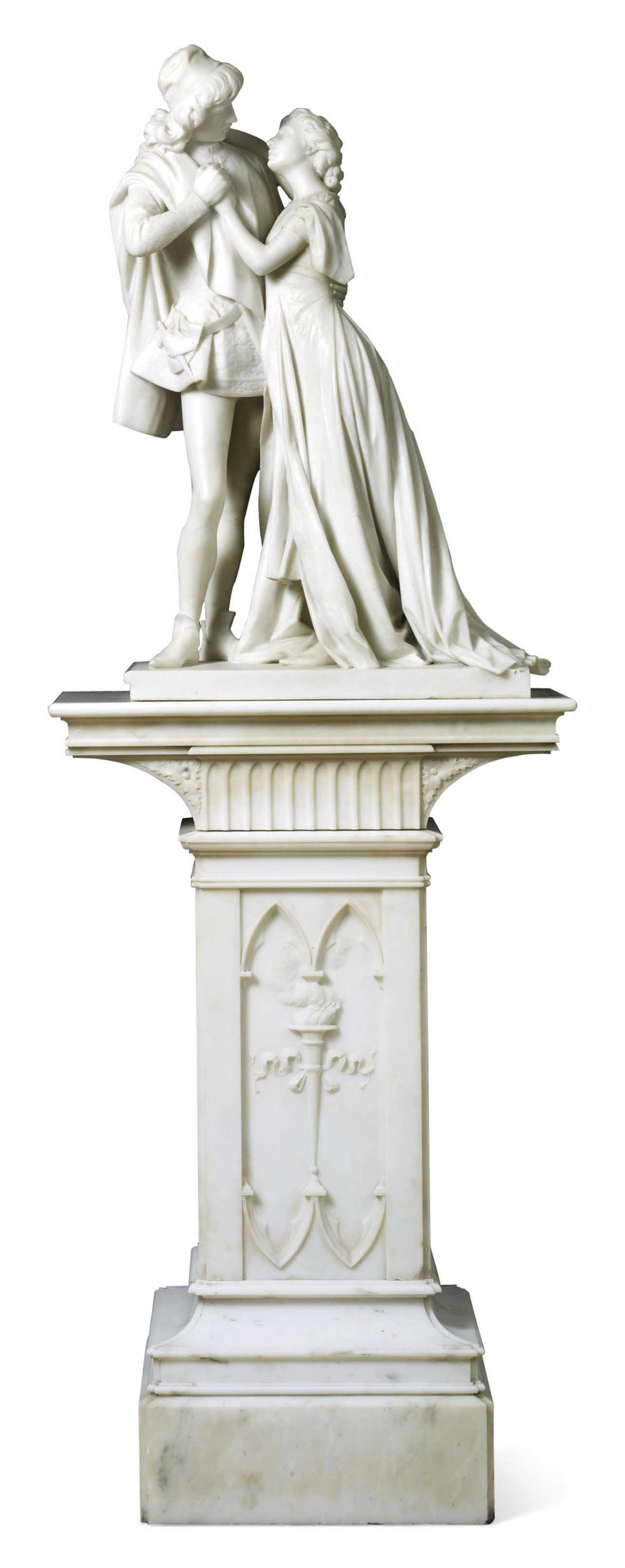 AN ITALIAN MARBLE FIGURAL GROUP OF ROMEO AND JULIET, ON PEDESTAL
