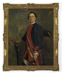 Portrait of Captain John Long Bateman, Captain in Colonel Ponsonby's Independent Regiment, three-quarter-length, in uniform, holding his sword hilt and glove in his right hand, in a landscape, mounted cavalry and a ruin on a hill beyond