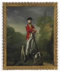 Portrait of The Hon. John Theophilus Rawdon-Hastings, son of the 1st Earl of Moira, small full-length, in the uniform of the 15th Regiment of Foot with a flintlock gun and two dogs at his feet, in an extensive wooded river landscape with a hilltop castle in the distance
