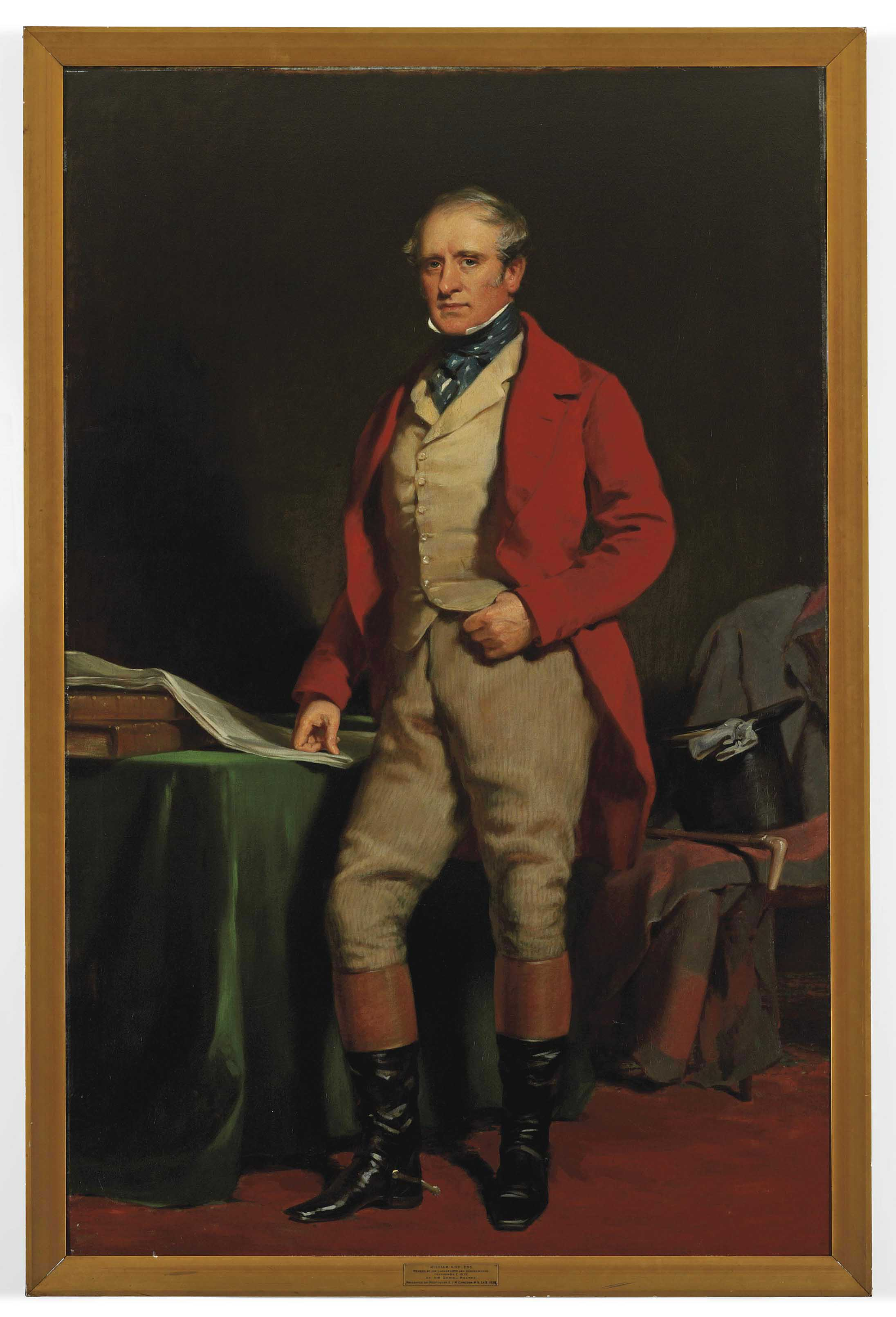 Portrait of William Aird, member of the Lanarkshire and Renfrewshire Foxhounds, full-length, in hunting dress, standing by a green draped table, his right hand resting on a newspaper