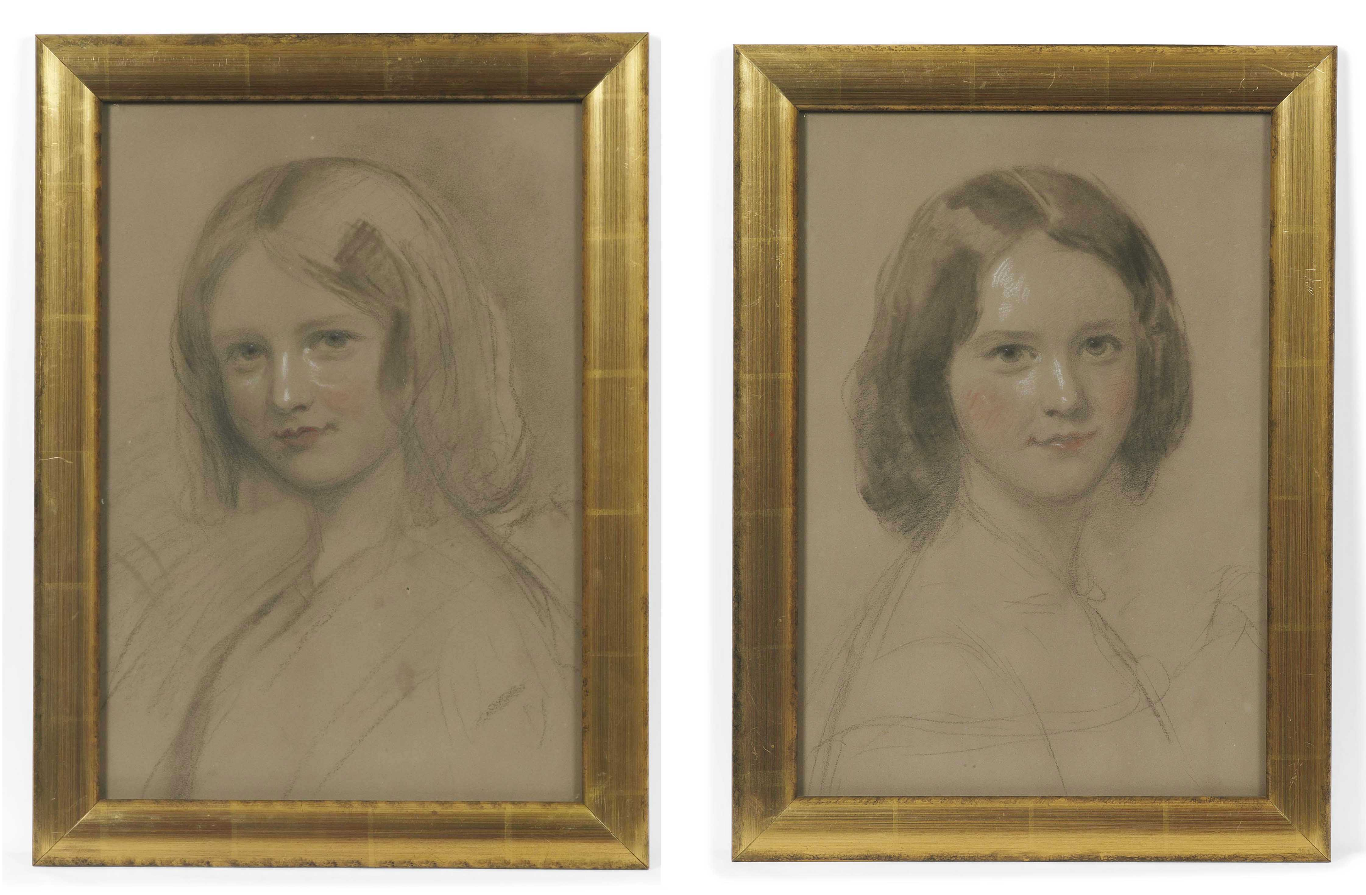 The Bagnell sisters; Portrait studies of Lorna and Emma Bagnell, bust-length