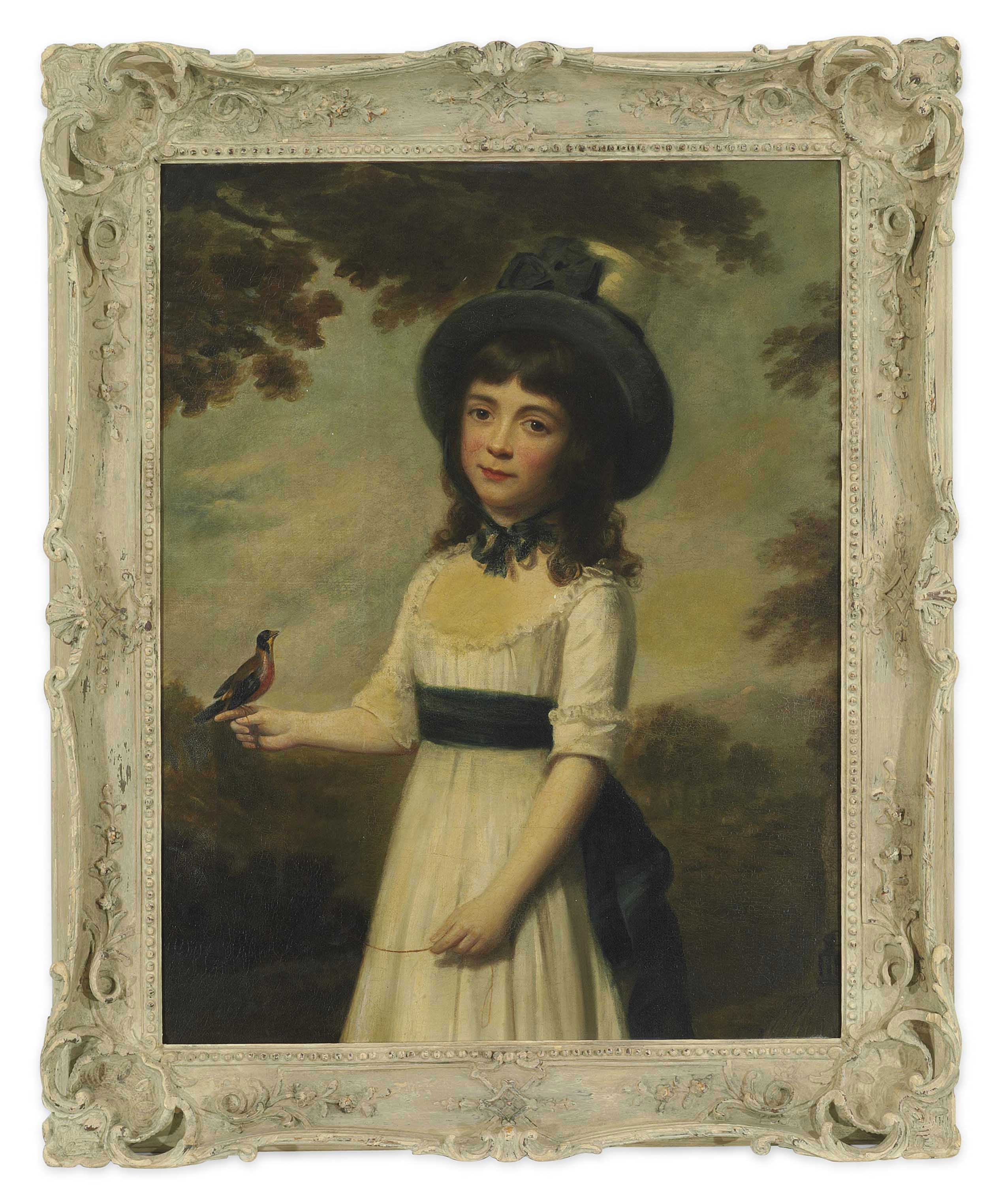 Portrait of Miss Gardner, three-quarter-length, in a white dress with a blue sash and a hat, a bird on a string perched on her right hand, a bird cage to her side, in a landscape