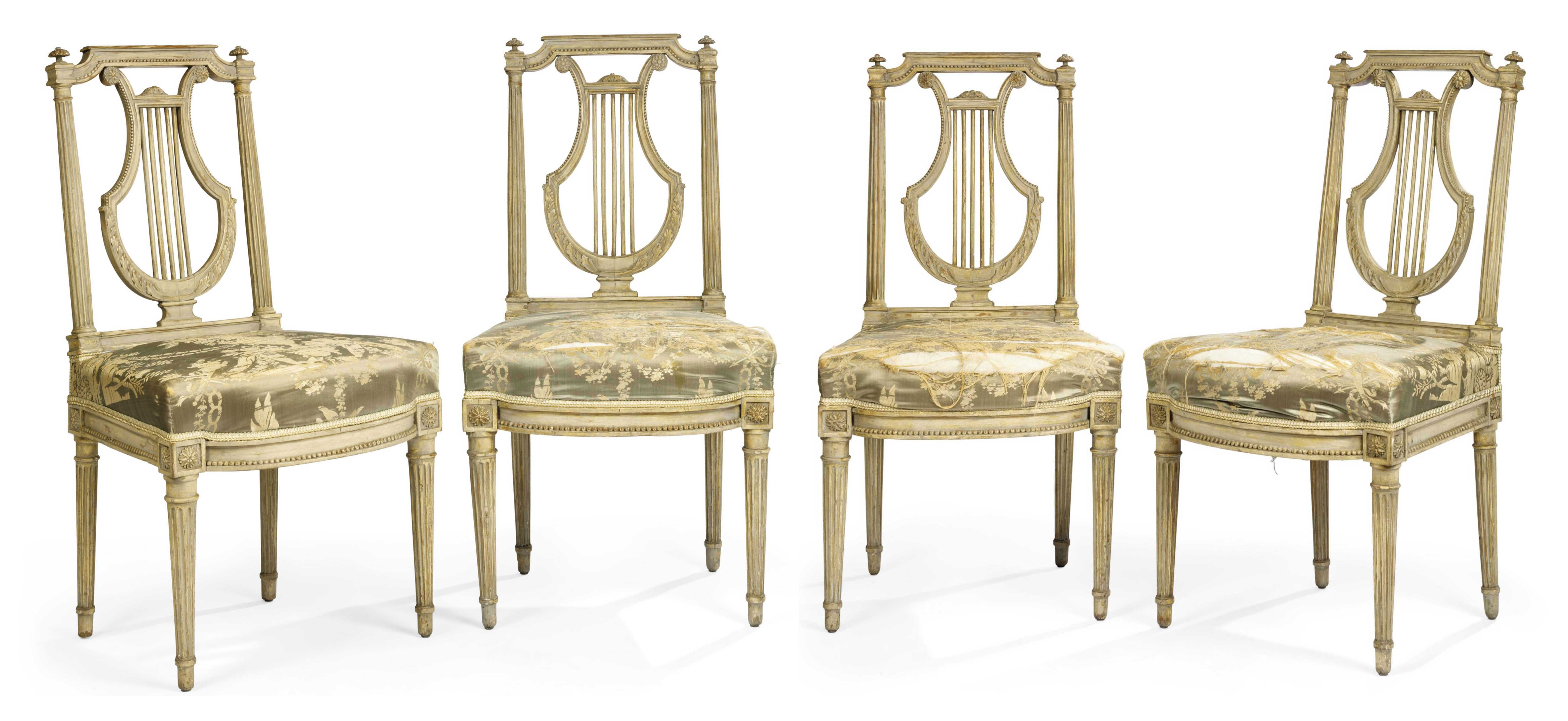 A SET OF FOUR LOUIS XVI PALE-GREY PAINTED SIDE CHAIRS