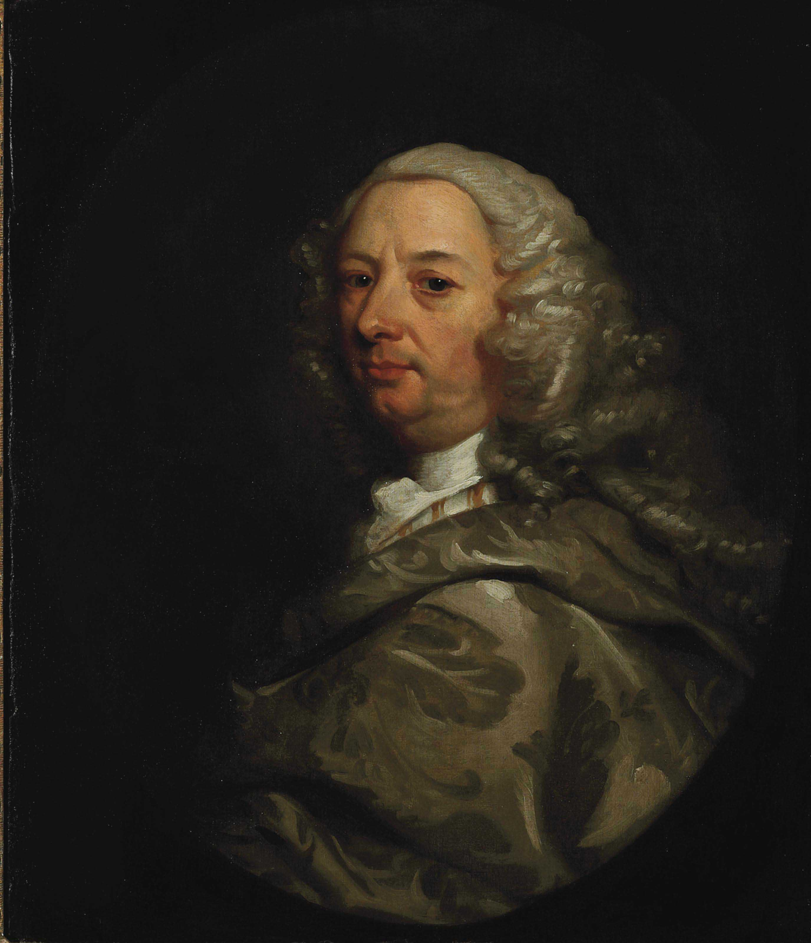 Portrait of a gentleman, half-length, in a silver brocaded mantle, in a painted oval