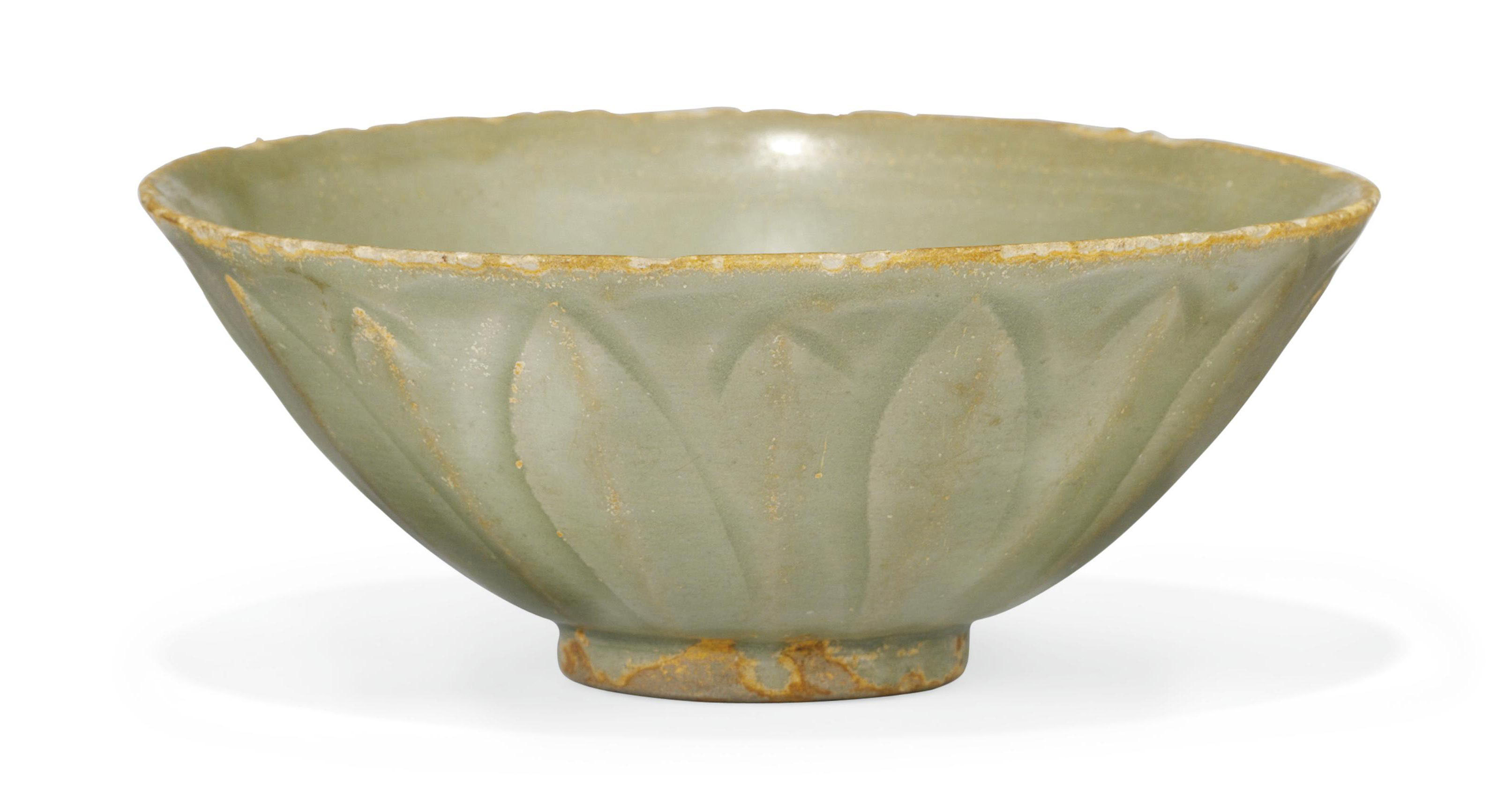 A CHINESE CELADON MOULDED BOWL