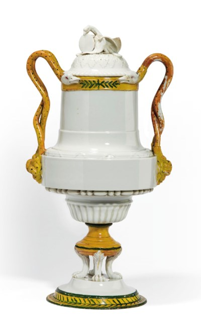 A MEISSEN TWO-HANDLED VASE AND
